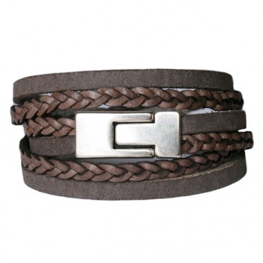 Armband Leder DARE! LA44, bruin/greige