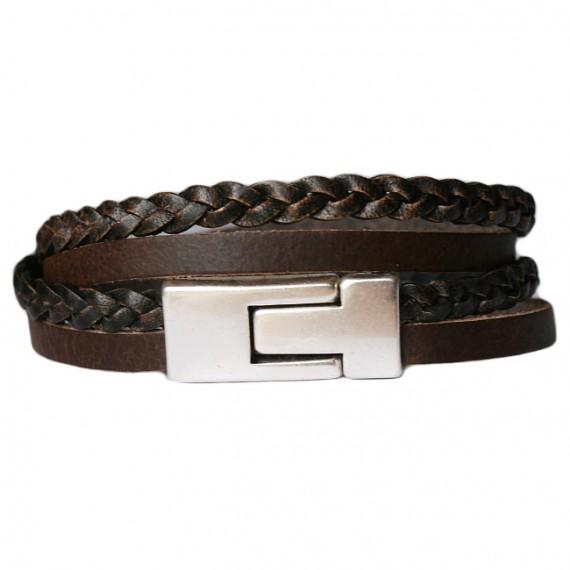 Armband Leder DARE! LA50, bruin/zwart