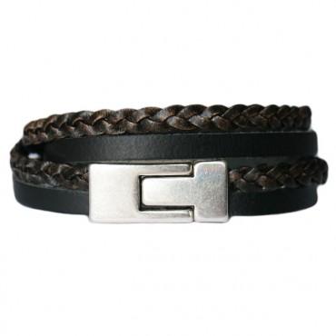 Armband Leder DARE! LA50, zwart/bruin