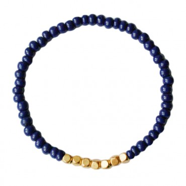 Armband basic glas/metaal 4mm donkerblauw