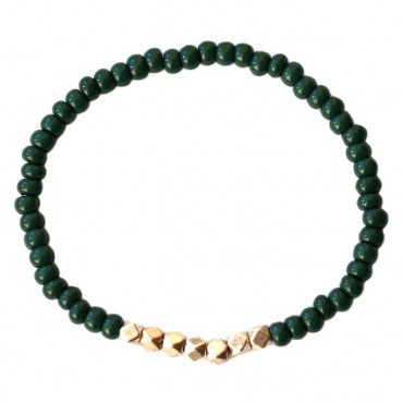 Armband basic glas/metaal 4mm emerald