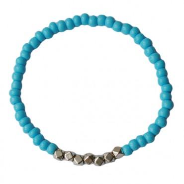 Armband basic glas/metaal 4mm lichtblauw