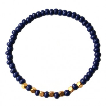 Armband basic metaal/glas 4mm Donkerblauw