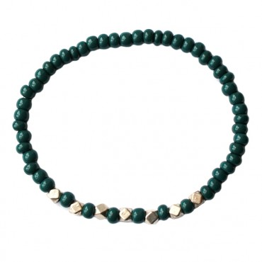 Armband basic metaal/glas 4mm emerald