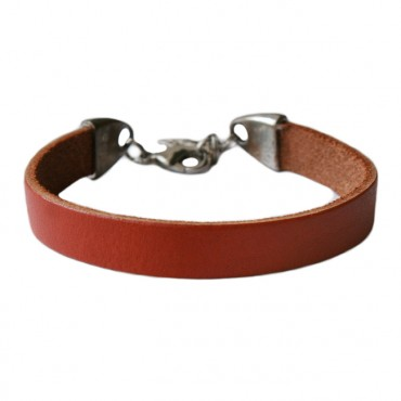 Armband basic leder large brandy