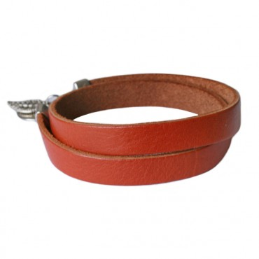 Armband leder double 10mm brandy