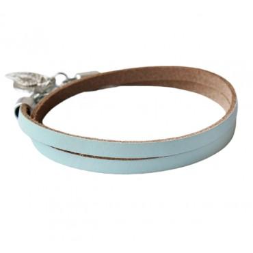 Armband leder double lichtblauw