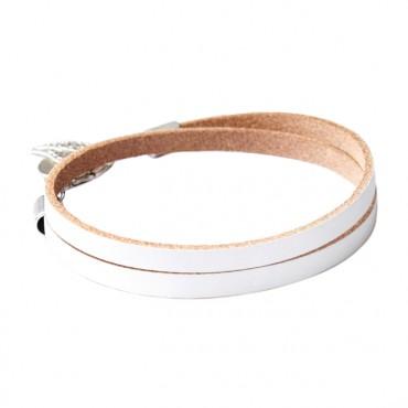 Armband leder double wit