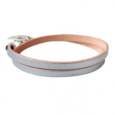 Armband leder double zilver
