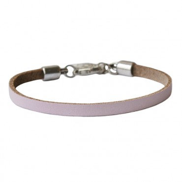 Armband basic leder smal lichtroze