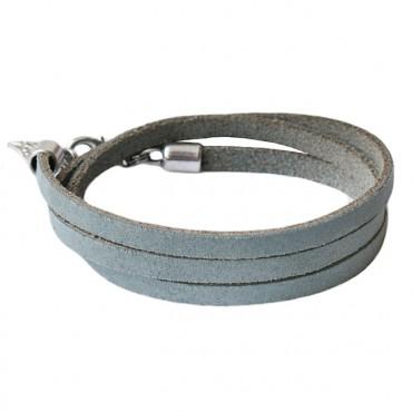Armband leder triple grijsblauw