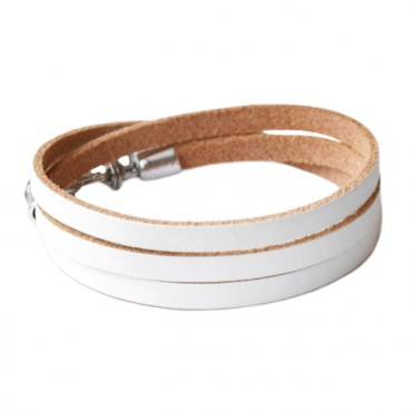 Armband leder triple wit