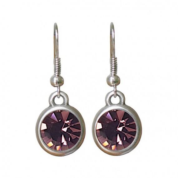 Oorbellen | basic kristal | antique pink