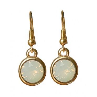 Oorbellen | basic kristal | white opal