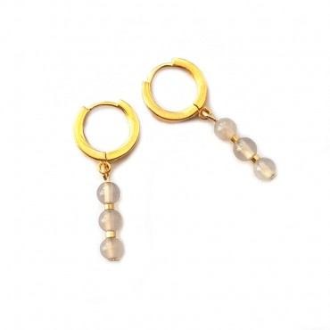 Oorbellen 14k Goldplated Silver Agaat