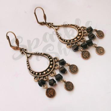 Oorbellen Coins Brons Zwart