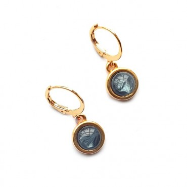 Oorbellen | Cabochon | Polaris Shiny Blue