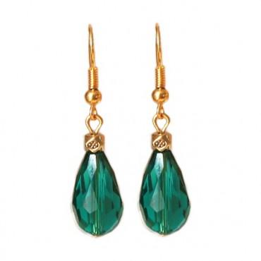 Oorbellen facetglas druppel emerald