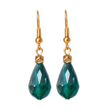 Oorbellen facetglas druppel shiny emerald