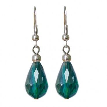 Oorbellen basic facetglas druppel shiny emerald