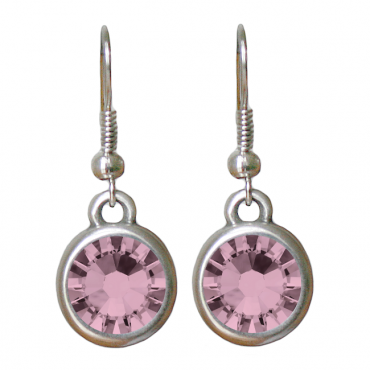 Oorbellen basic kristal antique pink