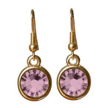 Oorbellen basic kristal antique pink