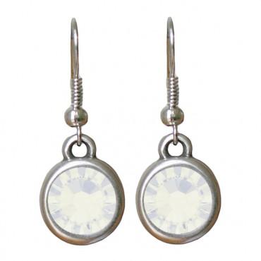 Oorbellen basic kristal white opal