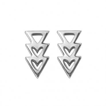 Oorknopjes RVS Triangles heart, zilver