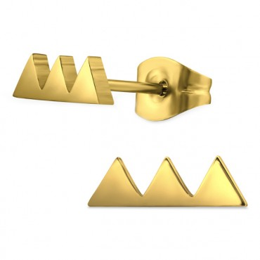 Oorknopjes RVS Triangles, goud