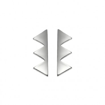 Oorknopjes RVS Triangles, zilver