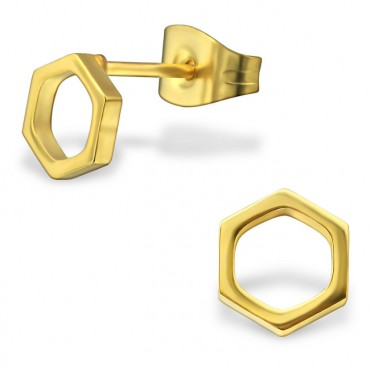 Oorknopjes RVS hexagon, goud