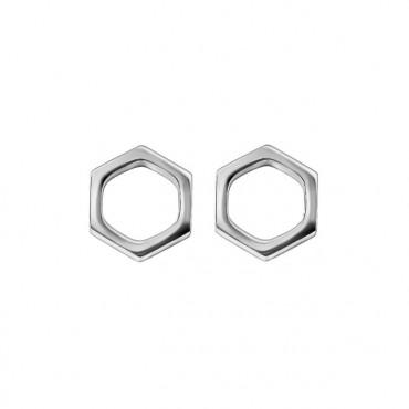 Oorknopjes | SELECT | RVS | Hexagon zilver