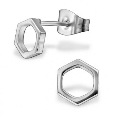 Oorknopjes RVS Hexagon, zilver