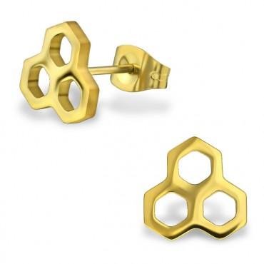 Oorknopjes RVS honingraat, goud