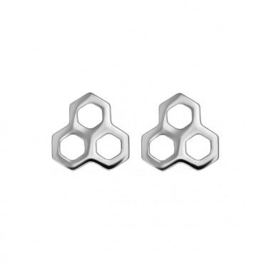 Oorknopjes RVS Honingraat, zilver