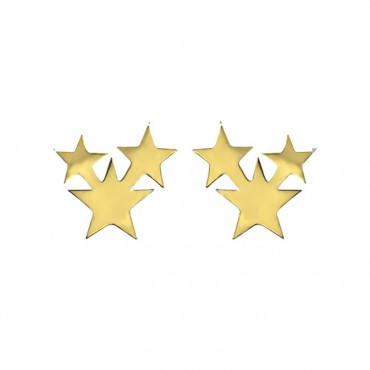 Oorknopjes RVS Stars, goud