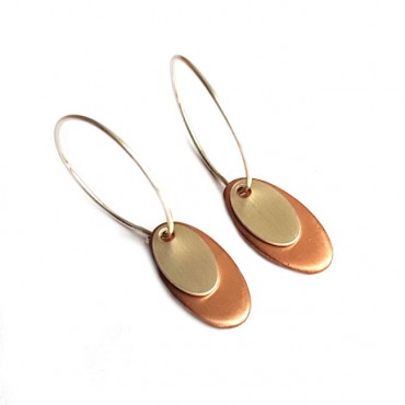 Oorringen 925 Sterling silver / Copper Oval