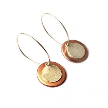 Oorringen 925 Sterling silver / Copper Rond
