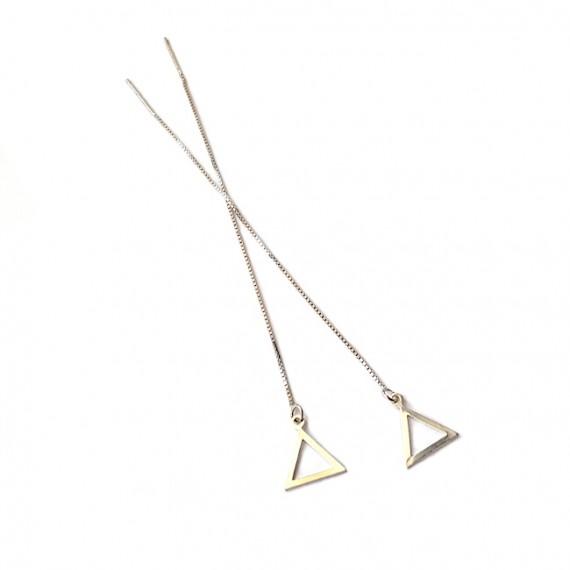 Oorbellen   doortrek    925 zilver    Driehoek