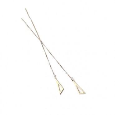 Oorbellen 925 zilver Ongelijke Driehoek / ketting
