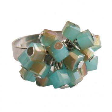 Ring square blauw