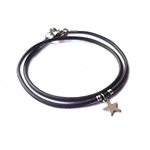 Armband Fine Leather Double RVS Star