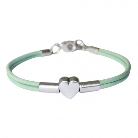 Armband leder Heart Tube, lichtgroen