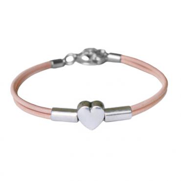 Armband leder Heart Tube, roze