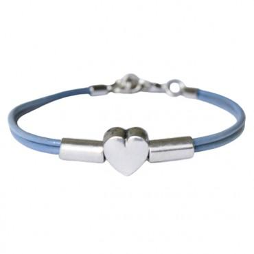 Armband leder Heart Tube, sapphire