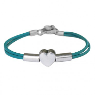 Armband leder Heart Tube, turkoois
