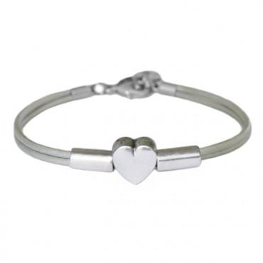Armband leder Heart Tube, zilvergrijs