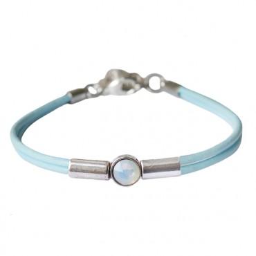 Armband leder Crystal Tube, Lichtblauw