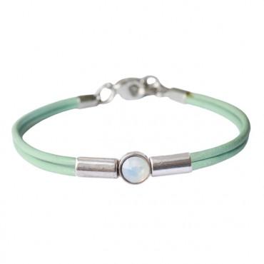 Armband leder Crystal Tube, Lichtgroen