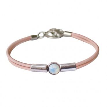 Armband leder Crystal Tube, roze